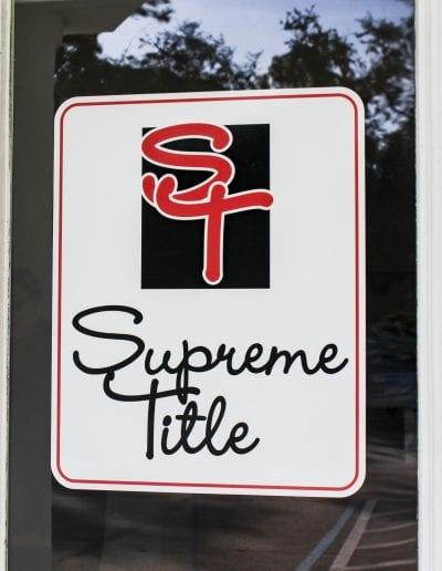 Supreme Title door sign